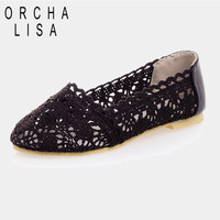ORCHA LISA Big Size 34-43 Leisure Fashion Comfort Pretty Summer Cut-out Sexy shoes Roman style flat sandals for women classic