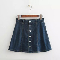 Denim Blue Button Mini Skirt