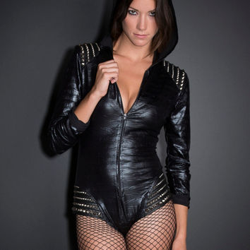 Hooded & Studded Bodysuit