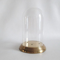 Vintage Glass Cloche Dome and Base