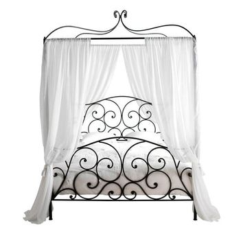 Steel 160 x 200 King Size Four-Poster Bed in Brown Sheherazad | Maisons du Monde