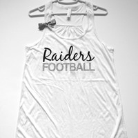 SALE - LARGE - RAIDERS FOOTBALL TANK - Racerback Tank - Ruffles with Love - Womens Fitness - Workout Clothing - Workout Shirts with Sayings