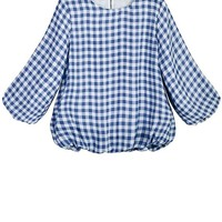 Sweet Plaid Puff Sleeve Blouse - OASAP.com