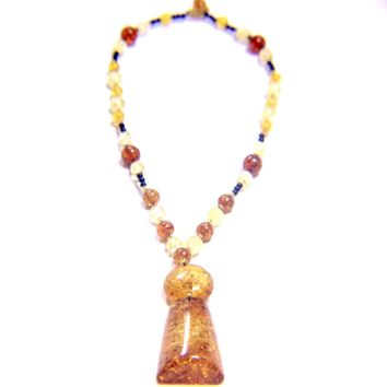 Amber Lucite Beaded Necklace