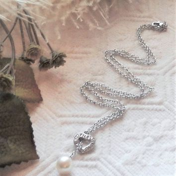Sterling Silver Pearl CZ Open Heart Lariat Look 16 Inch Necklace