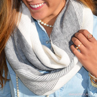 Grayton Beach Two Tone Striped Infinity Scarf - Gray