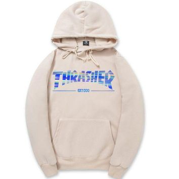 LMFON1O Day First Beige Bling Thrasher Printed Sweatershirt Hoodies