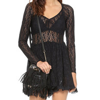 Long Sleeve Lace V-neck Pleated Mini Dress