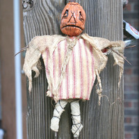 Klopp Kids OOAK Original Art Primitive Halloween Doll JOL Horror Pumpkin Head Nightmare Creepy