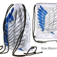 Anime Attack on Titan Print Drawstring Backpack B