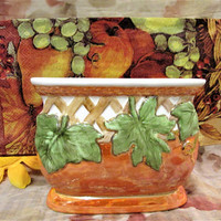 Autumn Napkin Holder Fall Thanksgiving Design Porcelain Ceramic Pottery Kitchen Decor