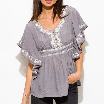 WOMENS STONE GRAY COTTON GAUZE EMBROIDERED BUTTERFLY SLEEVE EMPIRE WAIST BOHO PEASANT TOP