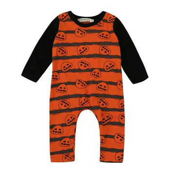 Baby Halloween Pumpkin Rompers Baby Clothing Boy Girls Clothes  Romper Long Sleeve Jumpsuit Clothes Outfits