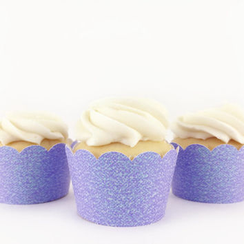 Light Purple Glitter Cupcake Wrappers - Set of 12 - Party Supplies // Wedding Decorations // Bridal Shower