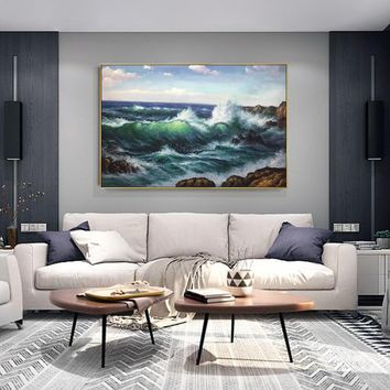 Abstract paintings on canvas art oil painting original sea waves texture heavy wall pictures large painting home decor cuadros abstractos