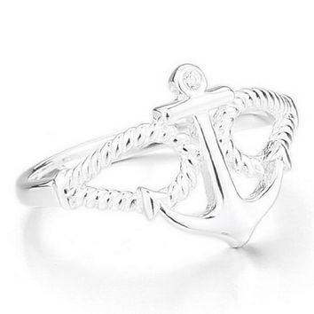 Women's 925 Sterling Silver Ring CZ Silver Anchor Nautical Biker Polished Size6