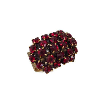 Vintage Ruby Rhinestone Ring, Gold Tone Wide Band Multi Stone Cocktail Ring, Adjustable Ring