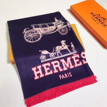 HERMES Woman Fashion Accessories Sunscreen Cape Scarf Scarves-Dark blue