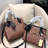 Louis Vuitton LV Fashion New Monogram Print Leather Shopping Leisure Shoulder Bag Women Coffee