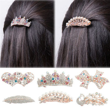 1PCS Noble Women Crystal Full Drill Flower Hairpins Hair Clip Heart Bow Leaf Peacock Barrette Hair Band Accessories