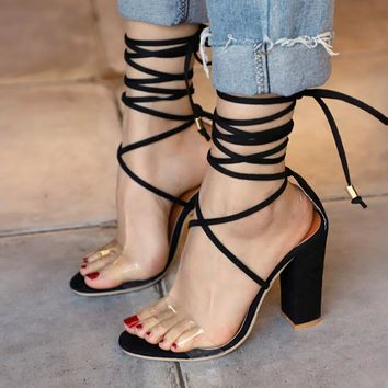 Summer Popular Women Cool High-Heel Strapping Large-Size Sandals High-Heeled Shoes Black