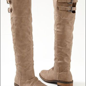 Taupe Buckle knee high boot  from VENUS