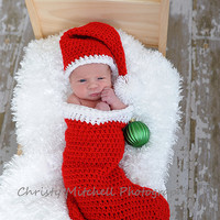 Christmas Stocking & Santa Hat Photo Prop - Newborn