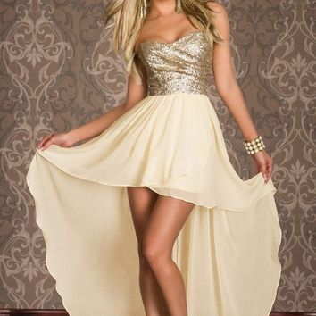 Maphia Cocktail Dresses Lace Short Front Long Back Gold Sequined Strapless Top Robe De  summer 2017 Party Dress