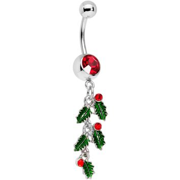 Red Gem Happy Holiday Cascade Of Holly Dangle Belly Ring