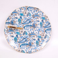 Vintage Lefton China Blue Paisley Plate Gold Handle Lemon Wedge Server Hand Painted Nappy