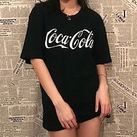 Copy of Coca-Cola Popular Unisex Casual White Letter Print Short Sleeve T-Shirt Pullover Top Black I-AA-XDD