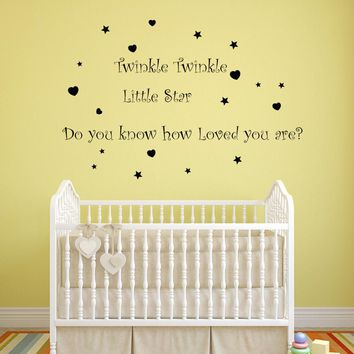 Twinkle Twinkle little Star Removable Mural Wall Stickers Wall Decal Home Decor wall stickers for kids rooms girls boys