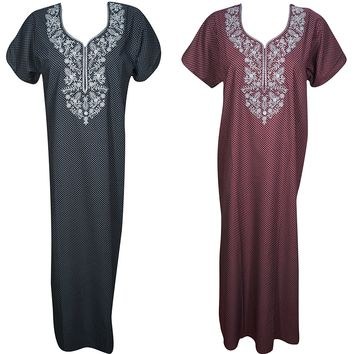 Evelyn Womens Caftan Nightgown Cotton Summer Kaftan Maxi Nightdress M Lot Of 2: Amazon.ca: Clothing & Accessories