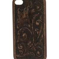 M&F Western Products® Distressed Brown Embossed Tooled Flower iPhone 4 Case