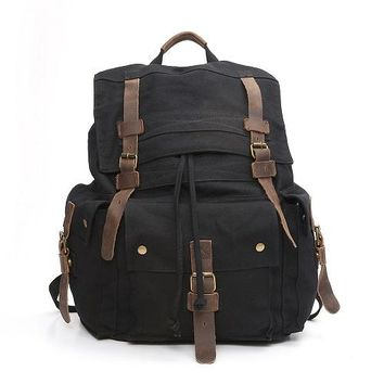 School Backpack trendy Vintage Fashion Backpack Leather cotton Canvas Men travel bags women school shoulder backpack weekend bag Black Casual bagpack AT_54_4