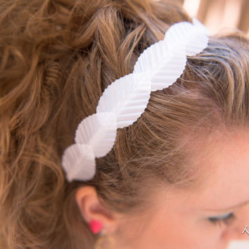 White Leaf Headband, White Leaf Headpiece, BoHo Headband, Bridal Headband, Bridesmaid Hair Piece, Grecian Wedding, Kawaii Hair Accessories