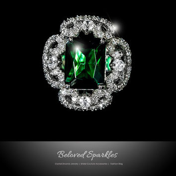 Coco Vintage Emerald Green Cocktail Statement Ring | 12 Carat | Cubic Zirconia
