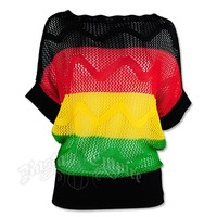 Rasta and Reggae Open Weave Knit Dolman Top @ RastaEmpire.com