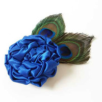 Peacock Feather Hair Accessories, Royal Blue Satin Fabric Flower Wedding Hair Pieces, Bridal Fascinator, Headpiece, Hairpiece, Hair Clips