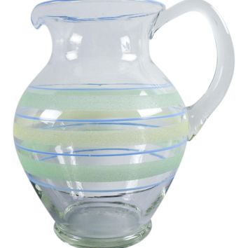1930s Vintage Hand Blown Glass Pitcher