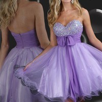 2012 Purple Sparkle short prom dress 71004