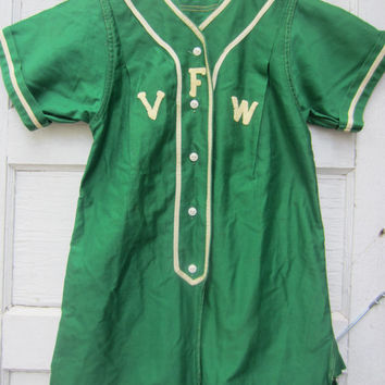 40s Green Long Baseball Shirt by Bresler, S-M // Softball Uniform Shirt