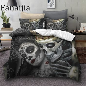 Cool Fanaijia Sugar skull Bedding Sets king beauty kiss skull Duvet Cover Bed Set Bohemian Print Black Bedclothes queen size bedlineAT_93_12