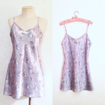 S/M satin mini nighty | powder blue clouds, moons and stars | 90s nighty | Sweet Dreams