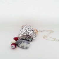 Big silver long heart necklace beads pink fuchsia white gift for her valentines mothers day gift
