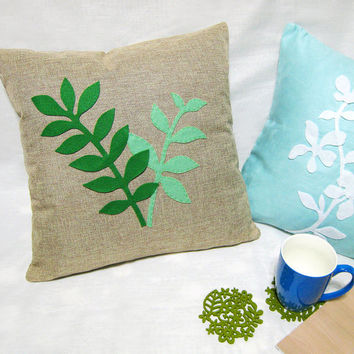 Housewarming Gift Set. Spring Leaves Beige Burlap Pillow Cover. With 6 Pieces Leaves Moss Green Felt Coasters Set