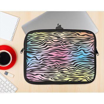 The Rainbow Colored Vector Black Zebra Print Ink-Fuzed NeoPrene MacBook Laptop Sleeve