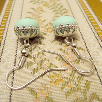 Mint green earrings size small handmade from by NellinShoppi