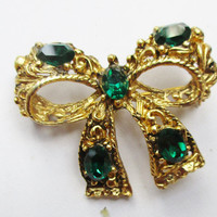 Vintage Brooch Emerald Green Bow Gold Tone F68