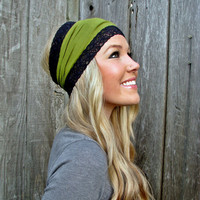 Moss Green Rayon Cotton Jersey Knit Headband in by HillNTrees